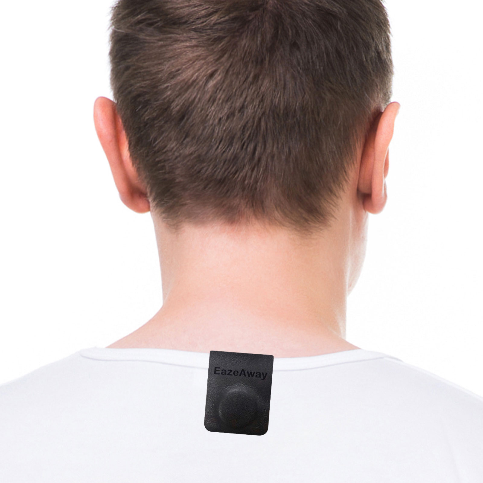 EazeAway Magnetic Clip attached to shirt for neck and shoulder pain relief